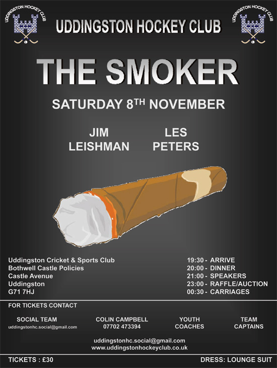 Hockey Gents Smoker - Speakers Announced - Saturday 8th November