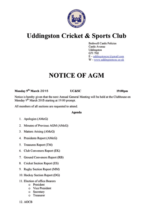 UC&SC 2014/15 AGM Confirmed - Monday 9th March @ 7pm