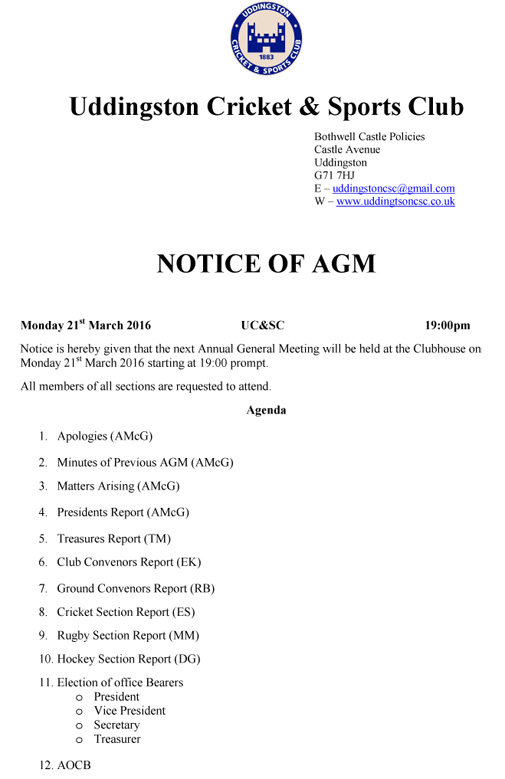 UC&SC AGM Notice - 21st March