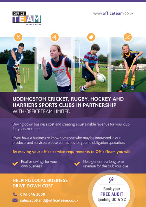 New Partnership Announcement for OfficeTeam and Uddingston Cricket & Sports Club